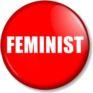 "FEMINIST 1"" Pin Button Badge Feminism Women's Rights Equality Activist - Red"